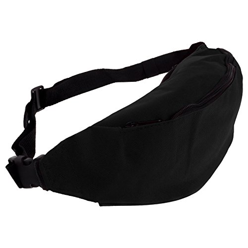 Smartfox Damen und Herren Gürteltasche Bauchtasche Hüfttasche mit zwei Fächern und Reißverschluss in schwarz