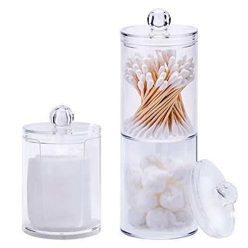QH-Shop Organizador de 3 Almohadillas de Maquillaje Acrílico Transparente Almacenamiento de Hisopos de Algodón de Baño con Tapa 3 Piezas