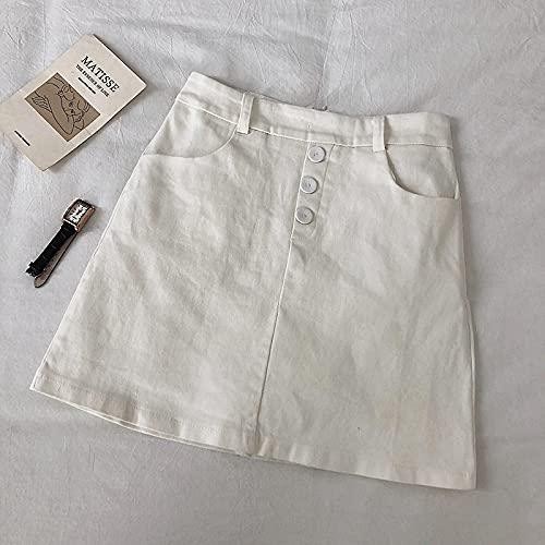 Falda Mujer Falda Coreana con Bolsillos para Mujer, Dulce, Simple, Sólida, Faldas Acampanadas, Elegantes para...
