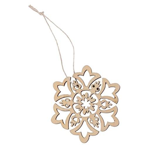 OULII Attaccatura di 10pz Natale ornamenti decorazioni albero di natale decorazioni di Natale decorazione in legno cava fiocco di neve Design 8 * 8cm
