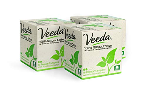 Veeda 100% Natural Cotton Compact BPAFree Applicator Tampons Chlorine  Toxin and Pesticide Free Regular  3 Boxes of 16 Count Each