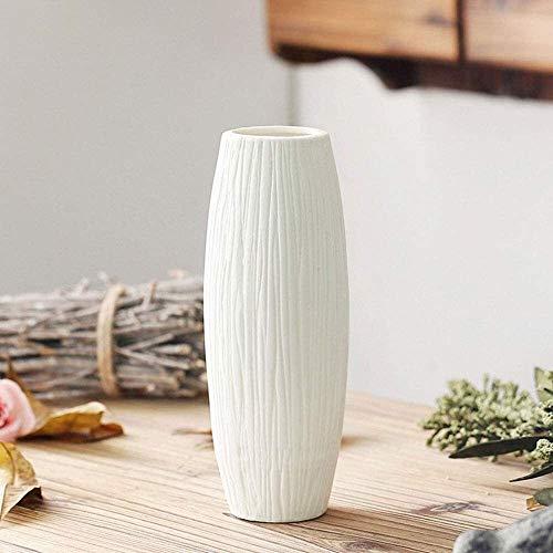 Macetero creativo blanco de cuatro formas decorativas de escritorio, macetas de cerámica simples, jarrón blanco quemado a rayas mate, adornos europeos americanos mediterráneos, macetas decorativas