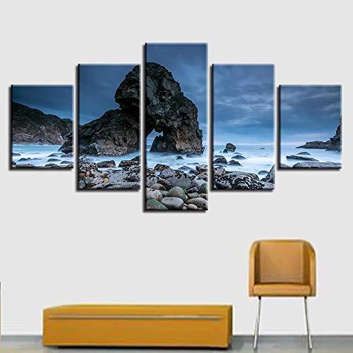 Leinwand HD Drucke Poster Wohnzimmer Rahmen 5 Stück Felsen Meer Wellen Gemälde Korallenriff Küste Seestück Bilder Modulare Wandkunst