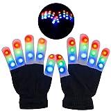 Guantes LED, Guantes de Mano Iluminados, Dedos Parpadeantes Guantes Coloridos de 6 Modos Brillo para Festivales/Halloween/Navidad/Juegos/Deportes/Regalo, Niños Pequeños (5-10 Años)