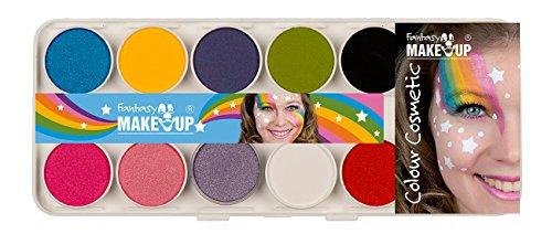 Kreul 37074 - Fantasy Aqua Make Up Girls, Malkasten 10 Farben, 2 Schwämme, 2 Pinsel, Schminke