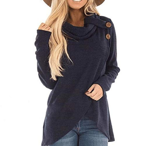 SHOBDW Damen Frühling Herbst Langarm Lässig Solid Knopf Decoration Lang Sweatshirt Pullover Top Bluse
