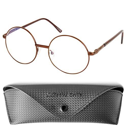 Hippie Runde Lesebrille mit Große Gläser, GRATIS Brillenetui, Anti Blaulicht Brille Stil 60er Jahre aus Metall (Braun), Lesehilfe Damen +2.5 Dioptrien