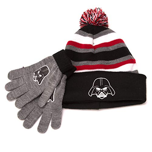 Star Wars Darth Vader Cuff Winter Beanie & Glove Set Boina, Negro/Gris, Talla única para Niñas