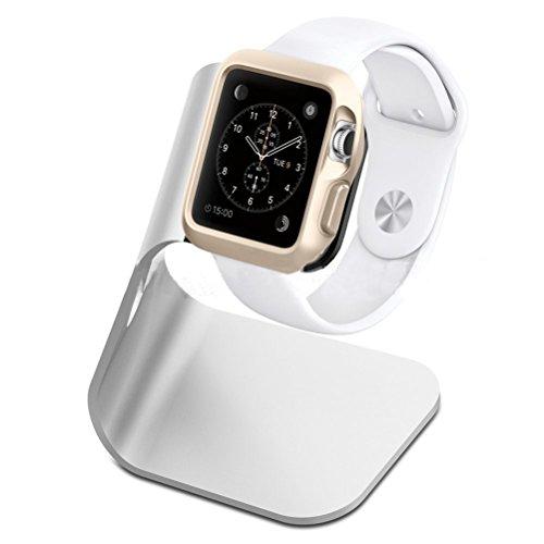 Nicerio Halterung für Apple Watch, Aluminium, tragbar, universelles Ladegerät, Ständer für Apple Watch 38 mm/42 mm, silberfarben
