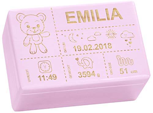 Holzkiste mit Gravur - Personalisiert mit GEBURTSDATEN - Rosa, Größe M - Teddybär Motiv - Erinnerungskiste als Geschenk zur Geburt - LAUBLUST®