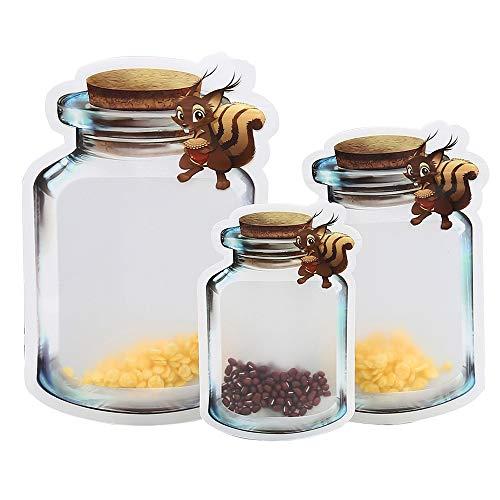 No Mason Jar Botellas Bolsas con cremallera, 10 unidades de bolsas para alimentos con cremallera, para viajes, camping, picnic, patrón de ardilla