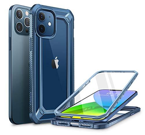 SUPCASE Funda iPhone 12 Pro/iPhone 12 6.1 inch [EXOPro Series] 360 Carcasa Trasera Transparente con Protector de Pantalla Integrado para iPhone 12 Pro/iPhone 12 - Azul ⭐