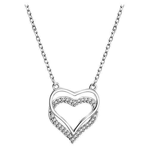 SOFIA MILANI - Collar para Mujeres en Plata de Ley 925 - con Circonitas - Colgante de Corazón - 50326