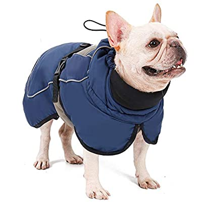AIWOKE Dogs Warm Coat,Winter Reflective Waterproof Small Dog Jackets, Medium Large Dog Clothes Snowsuit with leash hole Cold Weather Outfit Pet Apparel Size Adjustable Puppy Vest for Hiking