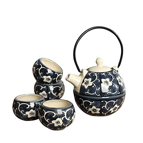 Panbado Tetera con 4 Tazas de Cerámica de Estilo Japonés Juegos de Café de Porcelana de 5 Piezas Tetera de Té Kungfu de Viaje Portátil, Regalo para Cumpleaños, Navidad, San Valentín - Azúl y Amarillo