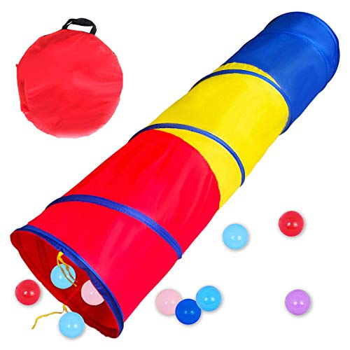 PigPigPen 6-ft Kids Tunnel for Toddlers, Pop Up Play Tunnel Tent for Babies or Dogs, Indoor & Outdoor Toys for Kids Backyard Playset. (Red,Yellow,Blue Play Tent)