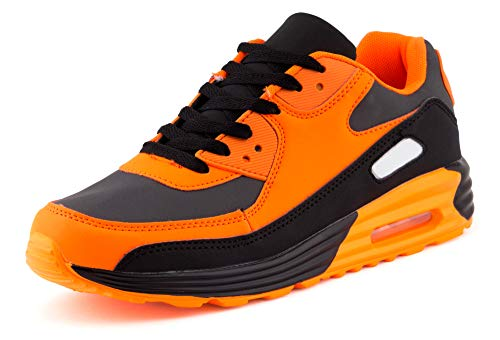 Fusskleidung Unisex Damen Herren Sportschuhe Übergrößen Laufschuhe Turnschuhe Neon Sneaker Schuhe EU Schwarz Orange Grau Grau 36