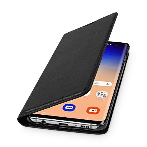WIIUKA Echt Ledertasche - TRAVEL Nature - für Samsung Galaxy S10 - DEUTSCHES Leder - Schwarz, mit Kartenfach, extra Dünn, Tasche, Premium Leder Hülle kompatibel mit Samsung Galaxy S10