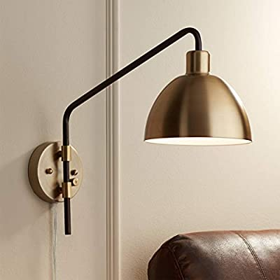 Colwood Industrial Farmhouse Swing Arm Wall Lamp Bronze Antique Brass Plug-in Light Fixture for Bedroom Bedside Living Room Reading - 360 Lighting