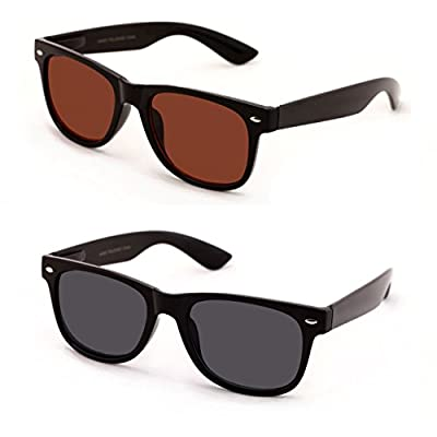 V.W.E Classic Outdoor Reading Sunglasses - Comfortable Stylish Simple Readers Rx Magnification - Not Bifocal (2 pairs black and brown, +1.00)