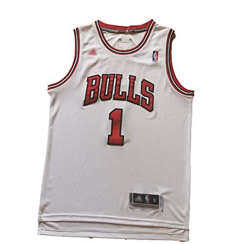 NBNB Camiseta de baloncesto para hombre Derrick Rose – Chicago Bulls 1# Retro Jersey, tela fresca transpirable, unisex, camiseta deportiva de baloncesto, XXL:198cm/95~110kg