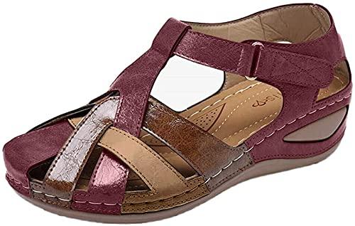 QAZW Sandalias para Mujer Verano 2021 Zapatos Huecos Tacón de Cuña de Gran Tamaño Sandalias para Mujer Sandalias Planas para Caminar Cómodas para Mujer Gancho de Punta Estrecha,Red-40