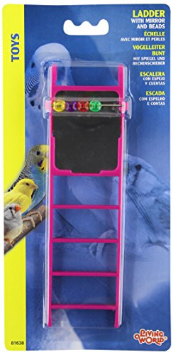 Living World Plastic Small Bird Ladder with Mirror and Bead