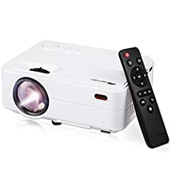 Brighter & Sharper & Bigger -- Our outdoor mini projector portable 70% brighter and 60% sharper image than other comparable mini projectors on the market. 4K Projector 1080P gets you a screen size between 32-200 inches, with a projection distance of ...