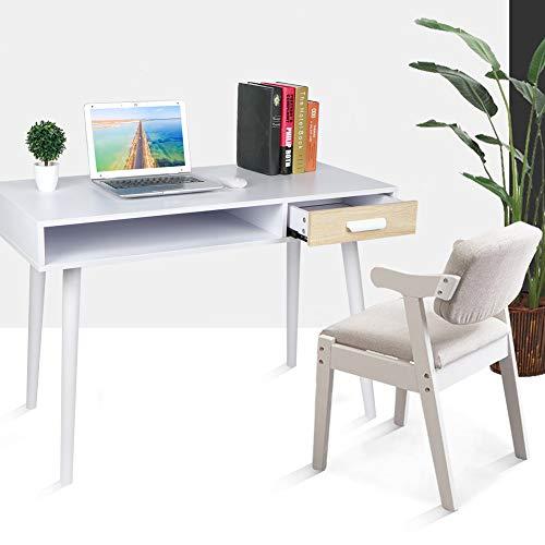 Escritorio con cajones modernos, escritorio pequeño con cajones, mesa de trabajo para ordenador, mesa para ordenador de oficina, estudio, dormitorio, madera, 110 x 50 x 74 cm, blanco