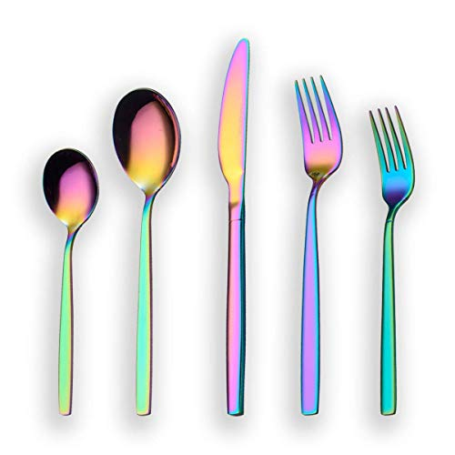 Berglander 20 Piece Titanium Rainbow Color Plated Stainless Steel Flatware Set, 20 Pieces Colorful Silverware Set, Mutil Color Silverware Set Cutlery Sets, Service for 4 (shiny Rainbow)