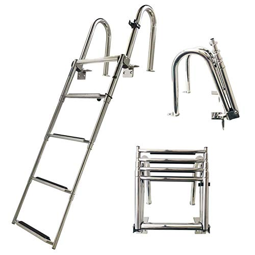 HLL Ladders,5 Step Pontoon Boat Ladder, Stainless Steel Folding Telescoping Ladder Heavy Duty Custom Swim Deck Ladder with Pedal Hand Railing Ladder Dock Ladder Extra Wide Step