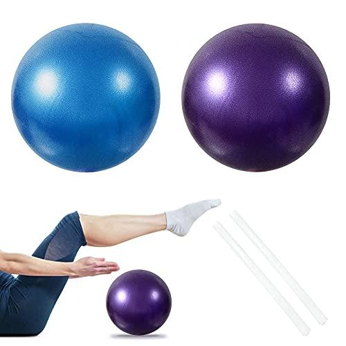 2 PCS Softball Pilates, Pelota de Pilates de 25 cm, Mini Balones Yoga, Pilates Pelota Equilibrio, Pelota de Ejercicios para Gimnasio, Yoga, Masaje y Pilates en Casa, Material Fitness (Azul + Morado)