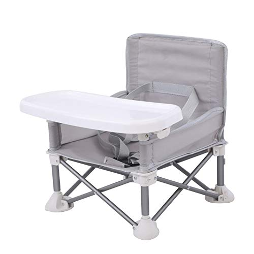 Silla de comedor plegable para bebé, silla alta portátil para comedor, aleación de aluminio, asiento elevador compacto con bandeja para interior o exterior, gris