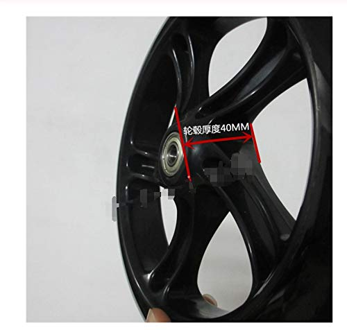 200 mm Diámetro 40 mm Grosor de la rueda Barrow for Scooter Pushcart rodillo de la carretilla 608 de cojinete Handcart Dolly Rodas Carretilla (Color : 1 black 200mm wheel)