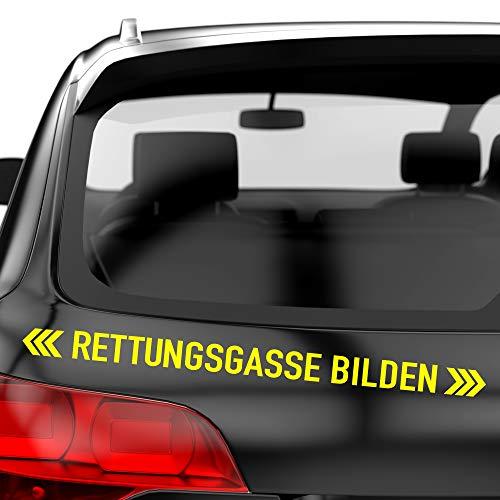 PrintAttack P002   Rettungsgasse bilden - Auto Aufkleber 60 cm Breite   Aufkleber   Auto   Car   Heckscheibe   Heck (029 Neongelb)