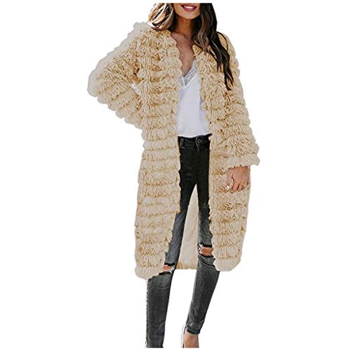 WUAI-Women Open Front Fuzzy Sweater Cardigans Parka Shaggy Faux Fur Coat Jacket Plus Size(Khaki,Medium)