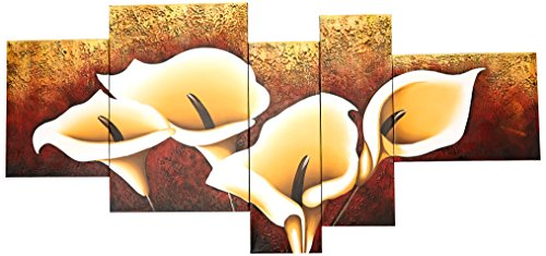 Wieco Art 5-Piece Calla Lily Stretched and Framed Modern Oil Paintings on Canvas Wall Art Set