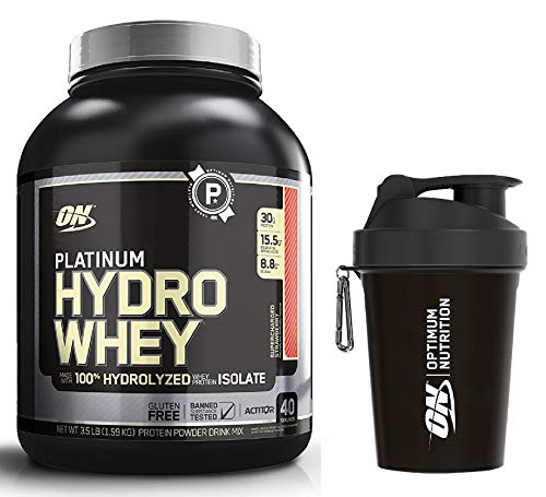 Optimum Nutrition Hydro Whey Whey Protein Powder Isolate with Essential Amino Acids, Glutamine, and BCAA by ON - Super Strawberry 40 Servings, 1.59kg & 500ml ON Shaker