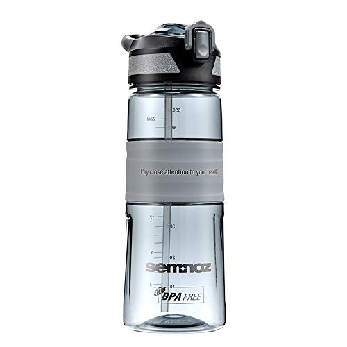 Kslong 水筒Tritan 飲料ボトル ポータブル旅行自転車プラスチックアウトドアスポーツボトル大きい (グレー, 650ml)