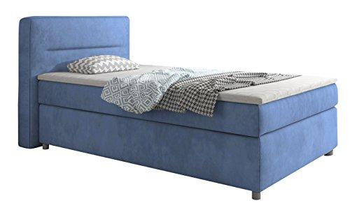 trendteam smart living 1711-612-B5 Boxspringbett Polsterbett Bellagio 2 x 5-Gang Bonell-Federkern 21 cm, 4 cm Topper, Stoff, velour blau, 110 x 200 cm