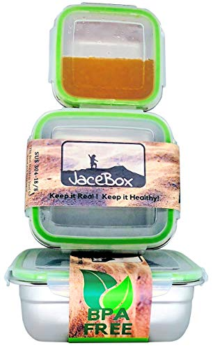 JaceBox Stainless Steel Containers - Adults Kids Square Set of 3 Leak Proof Bento Box Airtight Freezer Safe BPA FREE Metal Boxes New Snap On Latch Lids For Sandwiches Salads & Snacks by JaceBox