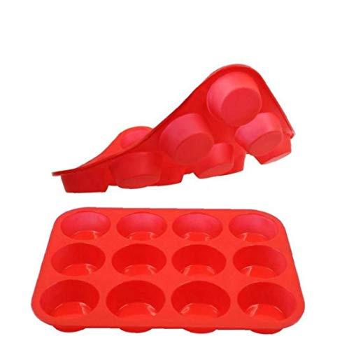 Bandeja Reutilizable de Silicona Muffin Recipiente para Hornear y la Magdalena 12 Copa Antiadherente de Silicona Copa moldes de la Torta