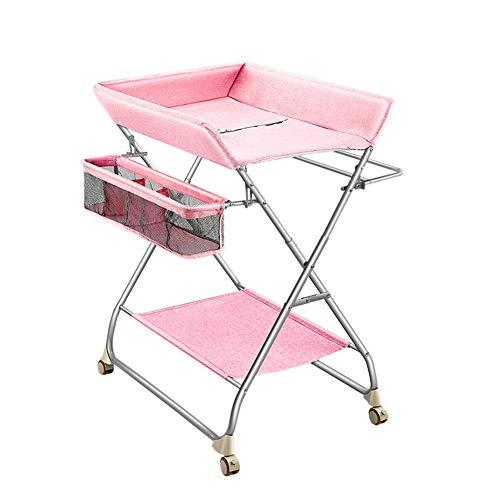 Tables à langer Enfant Nouveau-né Station De Couche-Culotte avec des Roues, 0-3 Ans Tout-Petit Massage Station Dresser, Rose
