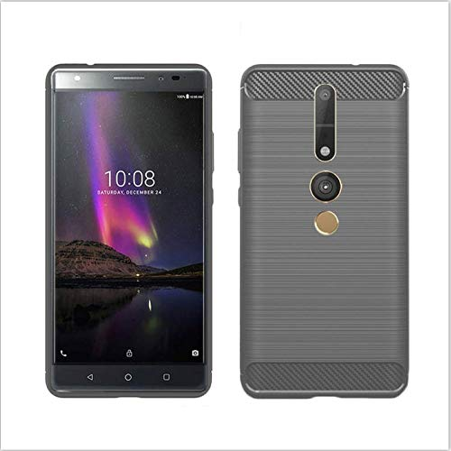König Design Handy-Hülle kompatibel mit Lenovo Phab2 Pro Silikon Case Hülle Sturzsichere Back-Cover Handyhülle - Carbon - Grau