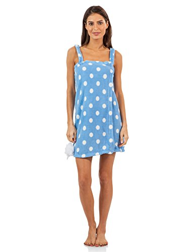 Casual Nights Women's Plush Fleece Shower Wrap Bathrobe with Soap Sponge - Blue Polka Dots - Large