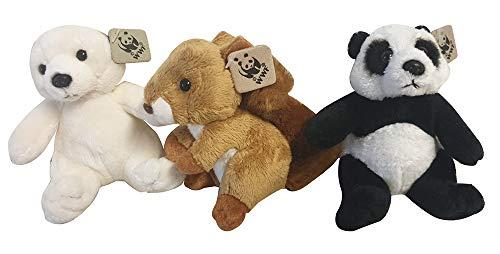 WWF Plush Figures Collection Set van 3 in een geschenkdoos met een eekhoorn, een ijsbeer en een pandabeer