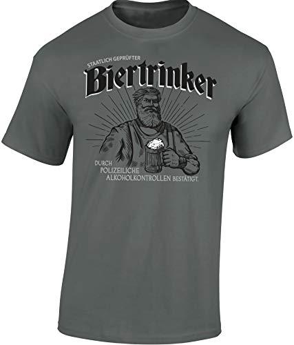 Bier T-Shirt : Staatlicher Geprüfter Bier-Trinker - Geschenk für Bierliebhaber - Geschenke für Männer - Craft-Beer - Oktoberfest - Brauer-Ei - Lustig - Fun - JGA - Saufen - Trinken, M, Zink Grau