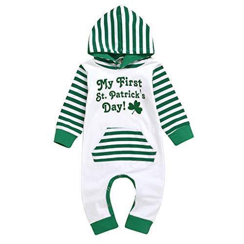 Arestory Baby My First St. Patrick's Day Hooded Romper Jumpsuit Jongen Meisje Met lange mouwen Stripe Letter Shamrock Gedrukt Bodysuit met Pocket Pasgeboren Kinderen Volledige lengte Broek Pak voor 3-24 Maanden