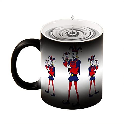Taza de café con diseño de descoloración, diseño de payaso de dibujos animados, color negro, blanco, para la oficina y el hogar, apto para lavavajillas y microondas, 330 ml