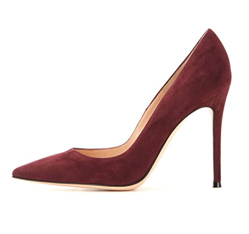 EDEFS Klassische Damen Pumps | Moderne Damen High Heels | Stiletto Schuhe | Damen Geschlossene Pumps Burgundy Größe EU42